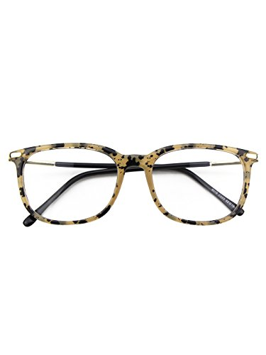 Happy Store CN79 High Fashion Metal Temple Horn Rimmed Clear Lens Eye - Tortoise Round Eyeglass Shell Frames