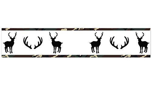 Sweet Jojo Designs Green, Beige, Black and White Rustic Deer Wallpaper Wall Border for Woodland Camo Collection