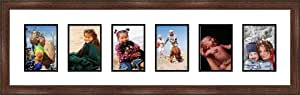 Walnut Collage Picture Frame - 6 openings for 5X7 photos
