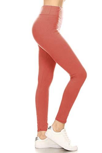 - LYR128-MARSALA Yoga Solid Leggings, One Size