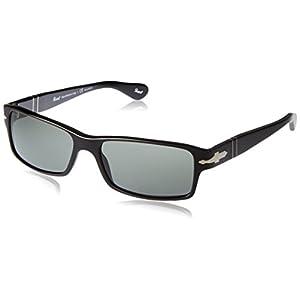 Persol PO2747S 95/48 Sunglasses, Black Acetate Frame, Green Polarized 57mm Lenses
