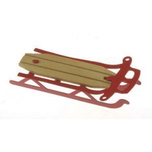Dollhouse Miniature Red Flyer Sled by International Miniatures by Classics (Flyer Red Sled)