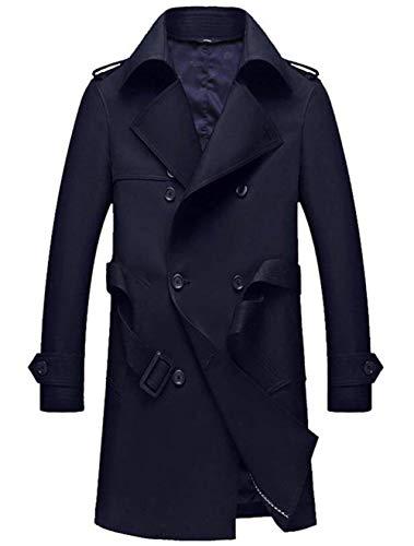 A A Dunkelblau Doppio Cappotto Petto con Trench Trench QK Coat Coat Ragazzo Slim Uomo Tradizionale Capispalla da Lannister da Pioggia Giacche BqwnnIUt