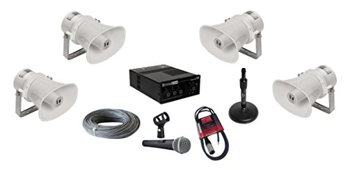 6' Pro Mid Range (TOA SC-610T Paging Horn Loudspeakers Bundle with AtlasIED AA35G Mixer Amplifier, Pure Resonance UC1S Microphone and Accessories - Public Address Sound System (9 Items))