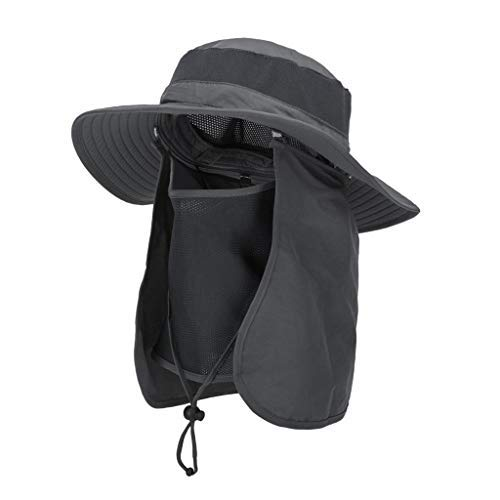 Asy Outdoor Sun Hat UPF 50 Protection Boonie Waterproof Fishing Cap for Men Women Face Cover Summer Removable Mesh Neck Face Flap Hat