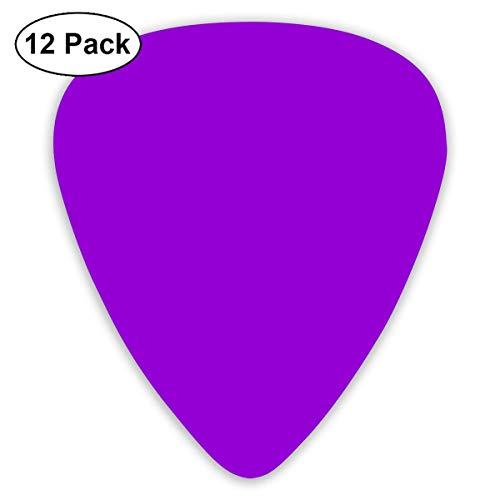 Dark Violet Solid Color Guitar Picks, 12 Pack Unique Designs Stylish Colorful Guitar Picks for Bass, Electric and Acoustic Guitars