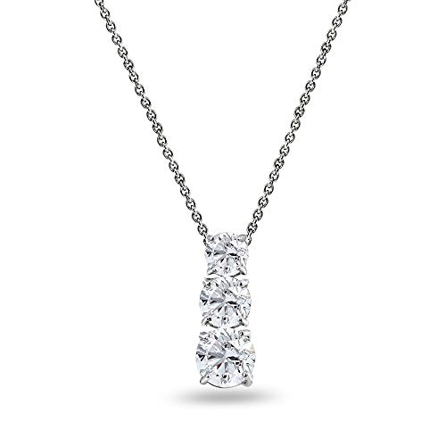 Sterling Silver Created White Sapphire Round 3-Stone Journey Slide Pendant Necklace for Women Teen - White Journey Pendant Sapphire