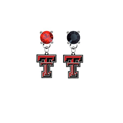 (Texas Tech Red Raiders Red & Black Crystal Stud Post Dangle Earrings)