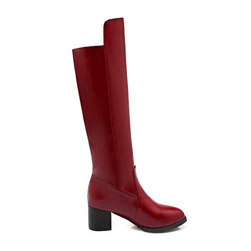 Red Ladies Zipper Heels Boots Heels Chunky Kitten Leather AdeeSu Imitated qzwPTP