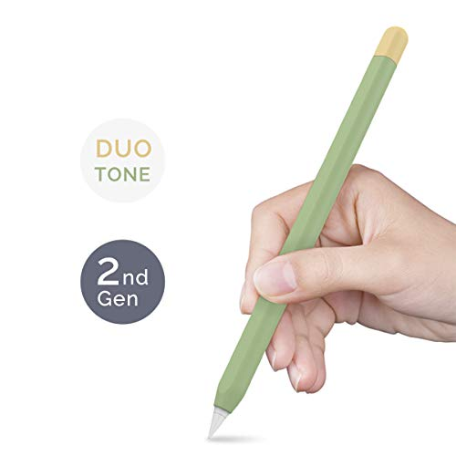 AHASTYLE Duotone Case Silicone Skin Cover Compatible with Apple Pencil 2nd Generation, iPad Pro 11 12.9 inch 2018(Avocado Green, Lemon Yellow) (Eleven Inch Tablet Case)