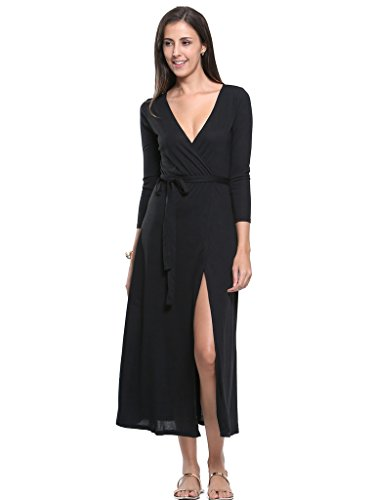 Persun Womens Plunge Sleeve Flared