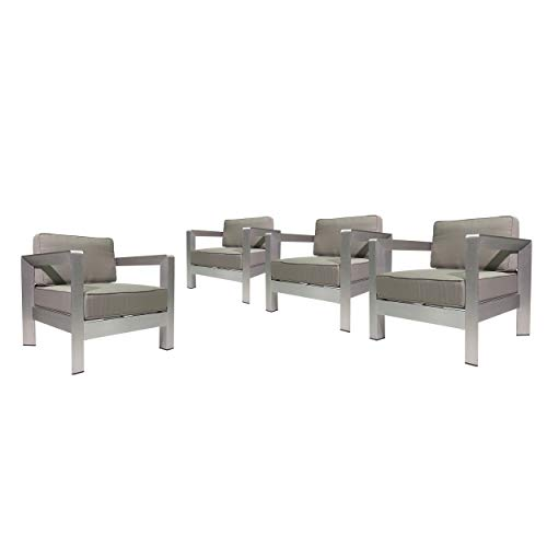 Great Deal Furniture 306461 Booth Outdoor Aluminum Club Chairs, Silver and Khaki Set of 4 , Sliver