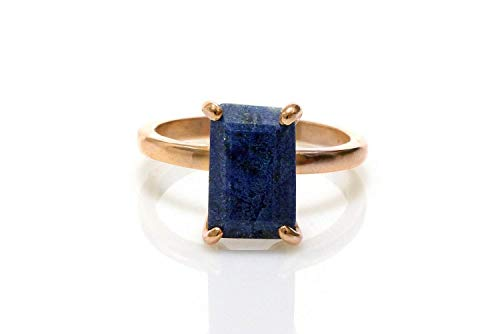 Anemone Unique Beautiful AA Lapis Lazuli Ring - 14K Rose Gold Ring - Lapis Birthstone Ring For Women Perfect For Daily Use & Special Occasions (Jewelry 14k Gold Lapis Ring)