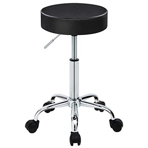 Duhome 410 Adjustable Height Swivel Medical Clinic Tattoo Spa Salon Stool with Wheels (Black)