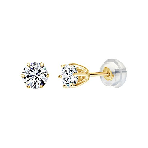 Solstice 14K Yellow Gold 6-Prong 4.5mm Round Stud Earrings Made with Swarovski Zirconia (3/4 cttw)