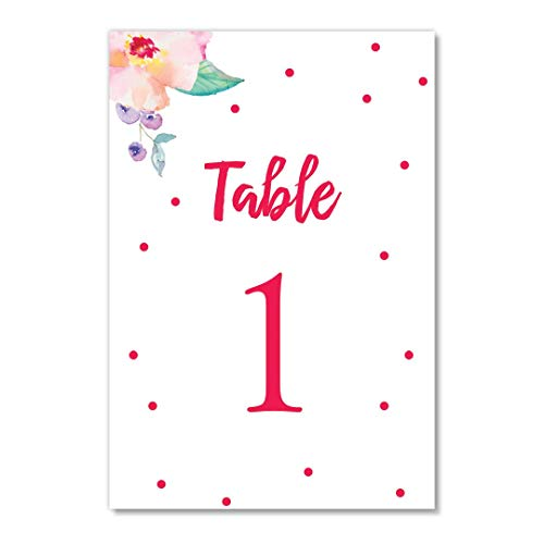 Red Polka Dot Table Numbers 25 Count Reserved Seating Delicate Floral Single Sided 4
