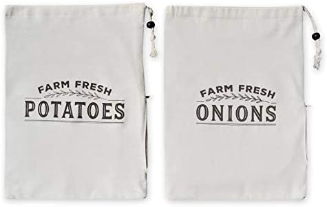 "Resilient Roots Potato Storage for Pantry I Potato and Onion Storage Bags with Side Zipper I Set of 2-16"" x 12"" - Cotton Farm Fresh Onion Bag with Blackout Liner"