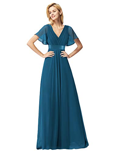 Ever-Pretty Women's Chiffon Bridesmaid Dress Prom Dresses Wedding Guest Dresses for Women Teal US12