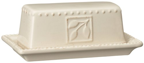 Signature Housewares Sorrento Collection Butter Dish, Ivory Antiqued Finish ()