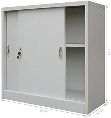 mewmewcat Armario Oficina con Puertas correderas Metal Gris ...