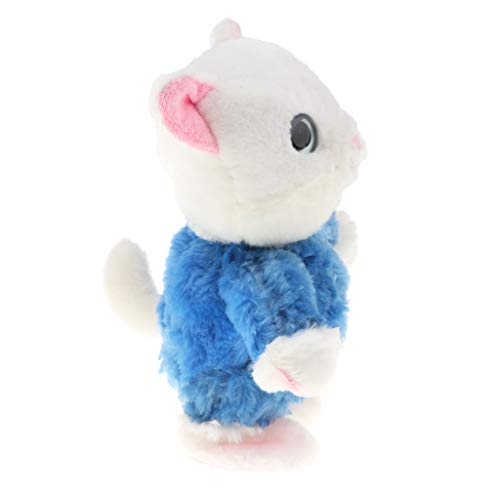 Fityle Soft Talking Cat Kitten Repeat What You Say Electronic Pet Walking Plush Toy, Birthday for Baby Kids - Blue