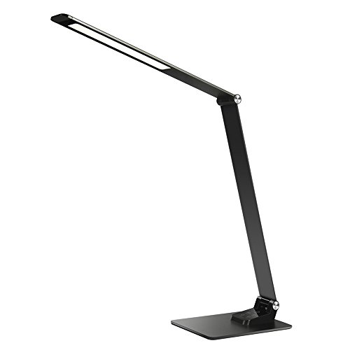 Metal LED Desk Task Lamps - Cefrank Office Table Reading Light w 5V 2A USB Charging Port - 5 Color Modes - 6 Brightness Levels - Memory Favorite Function