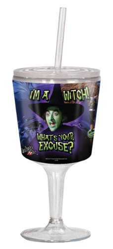 Wizard of Oz I'm a Witch, What's Your Excuse 12-oz Acrylic Goblet with Lid and Straw