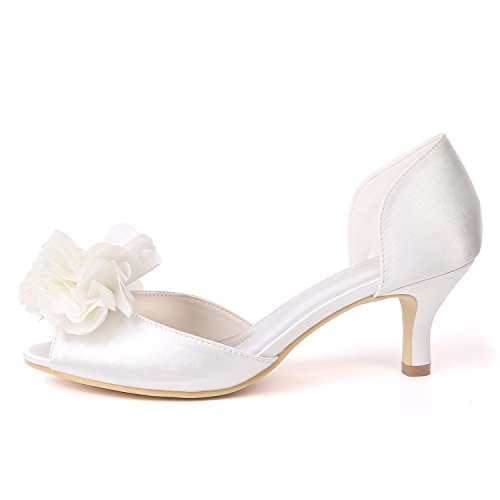 yc Donna Scarpe Alti Toe Side Peep su L Party Misura Classic Flowers Sposa Satin Ivory Da Air Tacchi fdWIq