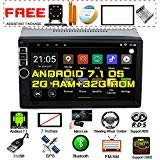 Upgraded Android 7.1 Quad Core CPU 2G Ram 32G Rom 7 Inch Touch Screen In Dash Double Din Car Stereo GPS Navigation WiFi Bluetooth Radio Headunit With Free Rear Camera And Car Tuning Tools