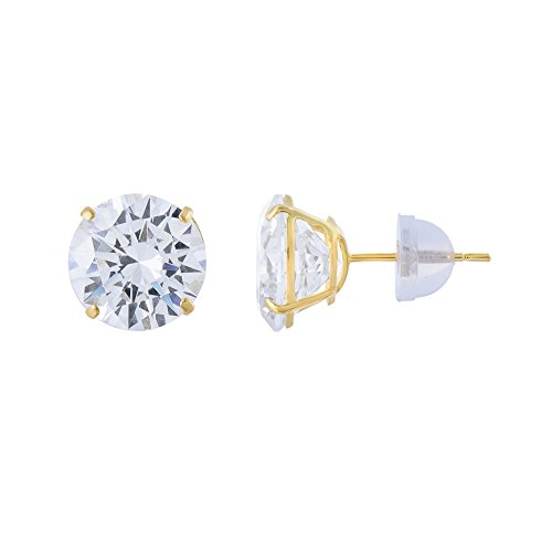 14kt Solid Yellow Gold Super Bright Clear Cz Basket Setting Round Pushback Stud Earrings