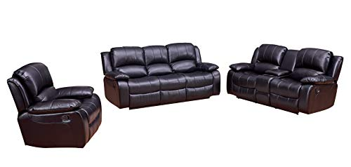 Betsy Furniture 3-PC Bonded Leather Recliner Set Living Room Set in Black, Sofa + Loveseat + Chair, Pillow Top Backrest and Armrests ()