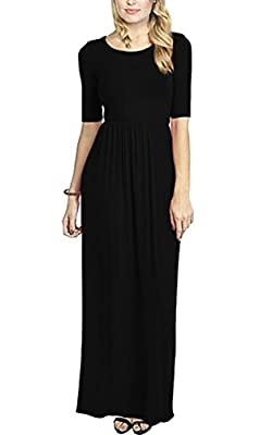 Meaneor Women's 3 4 Sleeve Solid Plus Maxi Long Dress with Elastic Waistband