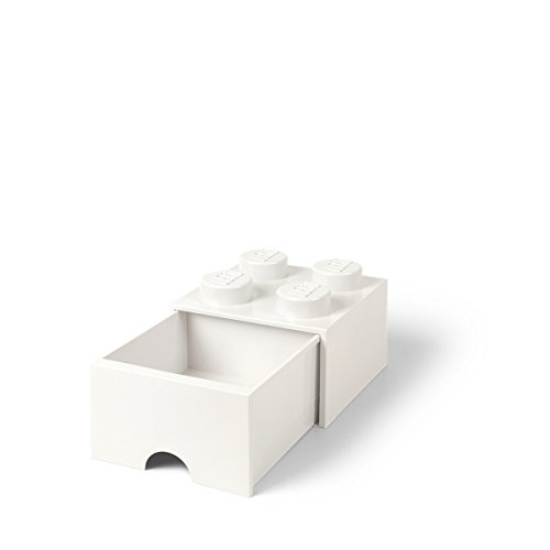 LEGO Brick Drawer, 4 Knobs, 1 Drawer, Stackable Storage Box, White