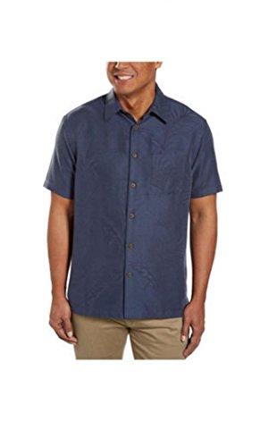 Retro Lounge - Woody's Retro Lounge Men's Short Sleeve Button-down Shirt (Large, Blue)