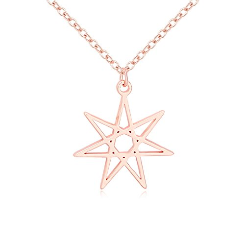 Faerie Rose - NOUMANDA Elven or Faerie Seven Pointed Star Septagram Pendant Necklace Rose Gold Silver Tone (Rose Gold)