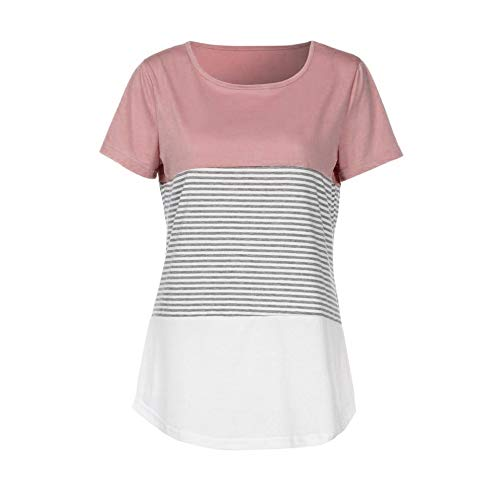 JFLYOU Women T-Shirt,Fashion Short Sleeve Triple Color Block Stripe Casual Blouse Tunic Tee(Pink1,S) by JFLYOU-Blouse (Image #2)
