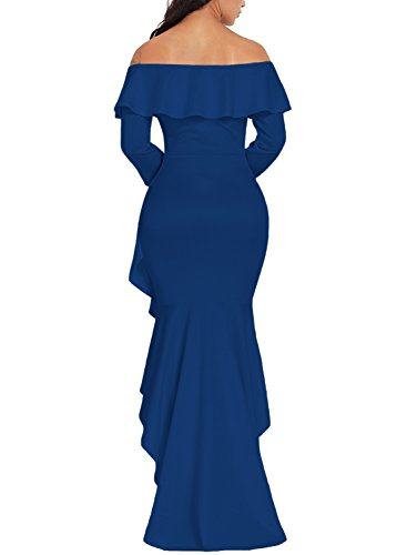 Low Mermaid Long Long Happy Women Ruffles High Sailed Shoulder 303 The Blue Off Gowns Formal Dresses Sleeve 77zwB