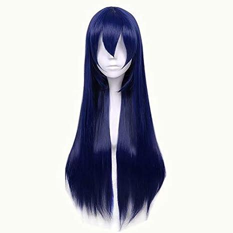NiceLisa Masquerade Peluca larga recta de noche para cosplay, color azul oscuro