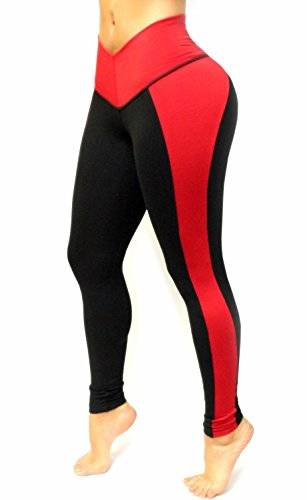 d7d40efb8035d Black and Red Leggings with Internal body shaping girdle at Amazon Women s  Clothing store