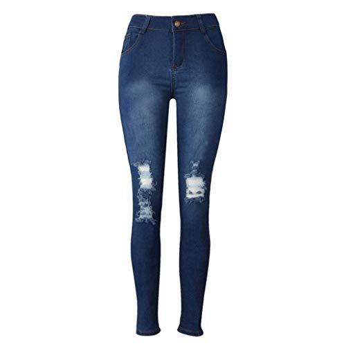 En Destruidos Para Las Orificios Vaqueros Pantalón Mujeres Grietas Con Alta Pantalones Cintura Raja Colour Rodilla Rotos Casuales Rodillas De nYWBA0AT