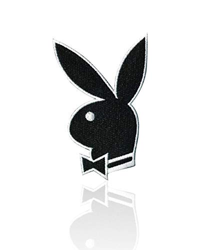 (Playboy Bunny Iron on & Sew on Rabbit Embroidered Applique Decoration DIY Craft for Tshirts, Denim Jackets, Hats, Bags)
