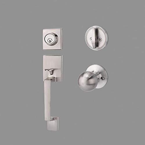 Promotion!!! TOGU HS14D Heavy Duty Single Cylinder Handleset with Knob Handle,Solid Entry Door Lockset Leverset for Home Exterior Doors,Easy Installation,Satin Nickel