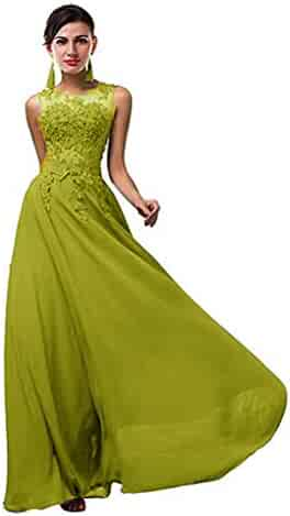 8e4bc7bb7cad Aiyue Yishen Women's Round Neck Sleeveless Floor Length Bridesmaid Dresses  Applique Prom Dresses
