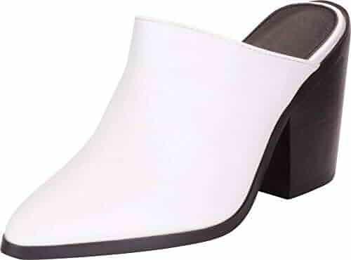 3bc9d90ce46 Cambridge Select Women s Pointed Toe Slip-On Chunky Block Heel Mule