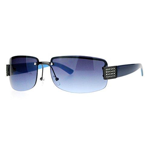 SA106 Rimless Rhinestone Jewel Hinge Luxury Bling Sunglasses Gunmetal Blue