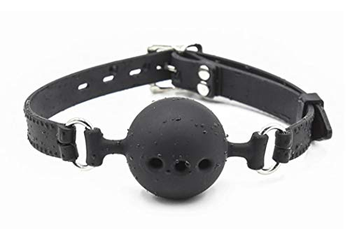 Open Breathable Silicon Mouth Ball Gag for Men Women (Black)