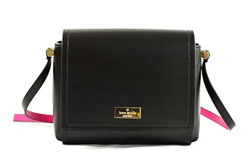 Kate Spade Avva  Arbour Hill Smooth Leather Crossbody Bag (Black/Sweetheart Pink) by Kate Spade New York