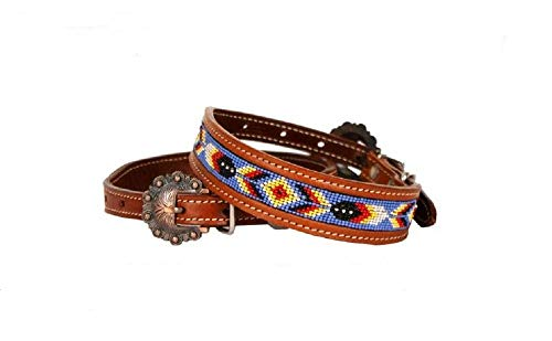 (Showman Couture Medium Blue Red Yellow Navajo Beaded Leather Adjustable Dog Collar )