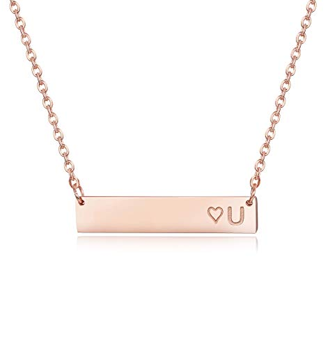 Finrezio Rose Gold Plated Stainless Steel Initial Heart Bar Necklace Alphabet Pendant Necklace for Women Girls Necklace Letter ()