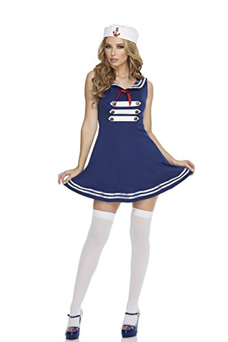 Mystery House Women's Pin Up Sailor, Blue/White, -